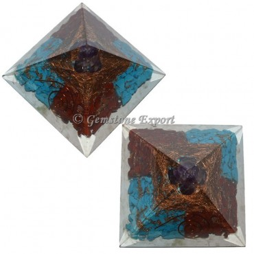Red Jasper Touqusie And Amethyst Orgonite Pyramid