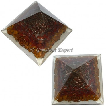 Yellow Jasper And Red Jasper Energy Orgonite Pyramid