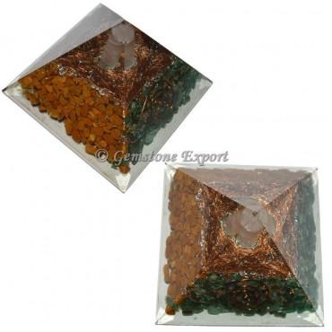Assorted Stones With Selenite Orgonite Pyramid