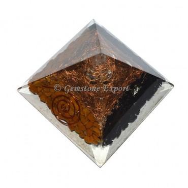 Black Tourmaline With Yellow Jasper Orgonite Pyramid