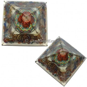 Chakra Stones With Flower Of Life Orgonite Pyramid