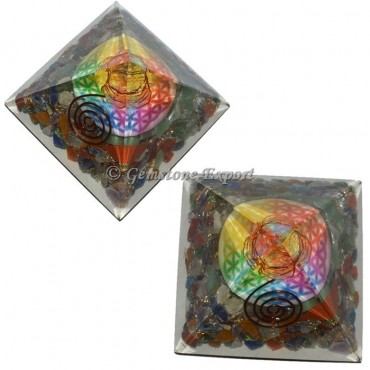 Chakra Stones With Printed Flower Of Life Orgonite Pyramid