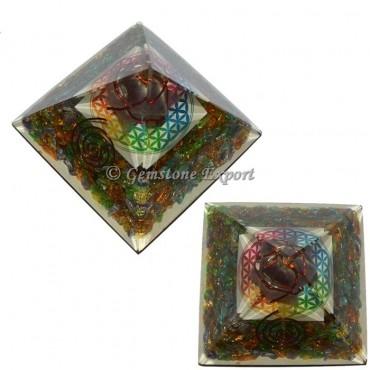 Crystal Seven Chakra Stones Orgonite Pyramid