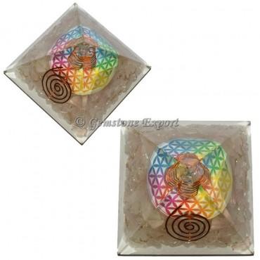 Rose Quartz Flower Of Life Orgonite Pyramid