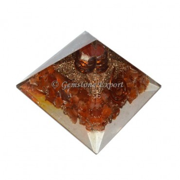 Carnelian With Point Orgonite Pyramid