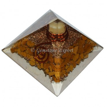Yellow Jasper With Point Orgonite Pyramid