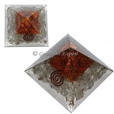 Crystal Quartz With Brass Orgonite Pyramid