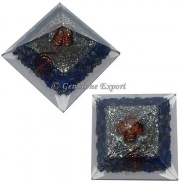 Lapis Lazuli With Brass Orgonite Pyramid