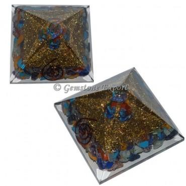 Assorted Stones Brass Orgonite Pyramid