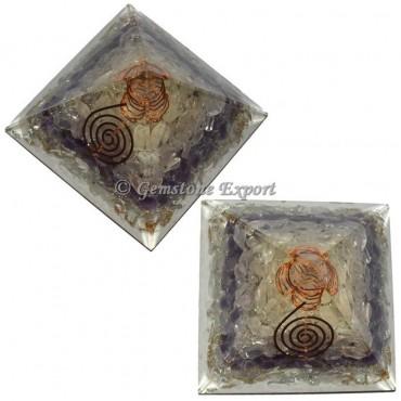 Crystal Rose Amethyst Quartz Orgonite Pyramid