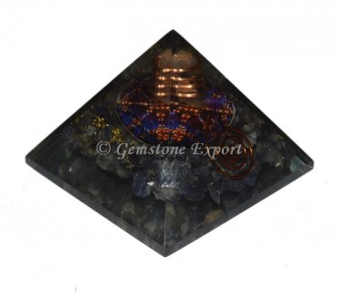 Blue Aventurine With Color Printed Orgonite Pyramid