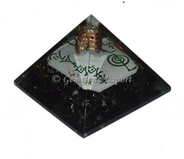 Black Tourmaline With Reiki Symbols Orgonite Pyramid