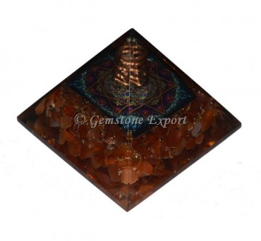 Carnelian With Pentagram Orgonite Pyramid