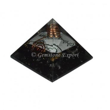 Black Tourmaline With Usai Reiki Orgonite Pyramid