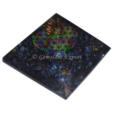 Blue Crystals Flower Of Life Orgonite Pyramid