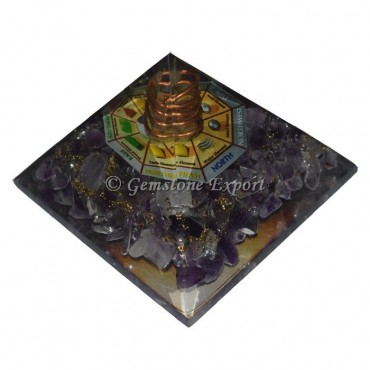Amethyst With Direction Printed Orgonite Pyramid