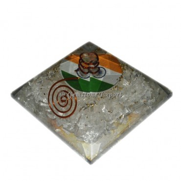 Crystal quartz Orgone Pyramid With India Flag Symbol