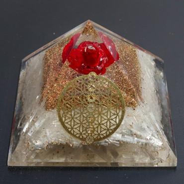 Selenite Flower of life Orgonite Pyramids