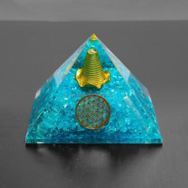 Aquamarine Flower Of Life Orgonite Pyramids