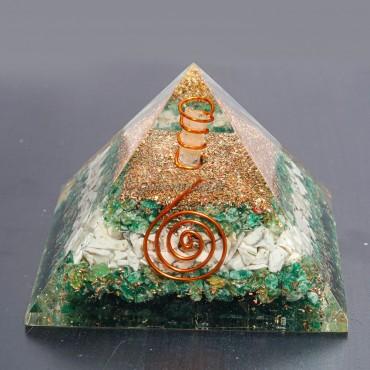 Green Aventurine With Howlite Orgonite Pyramids