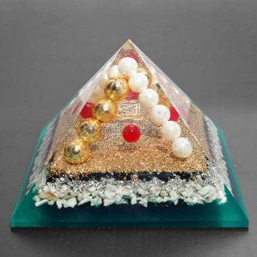 Howlite with Metal Ball Orgonite Pyramids