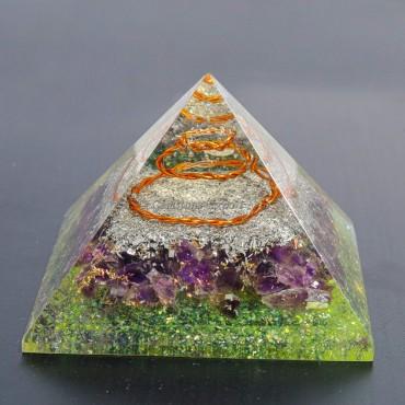 Amethyst with  Peridot Orgonite Pyramids