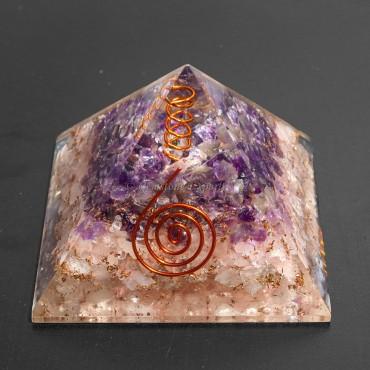 Rose and Amethyst Orgonite Pyramids