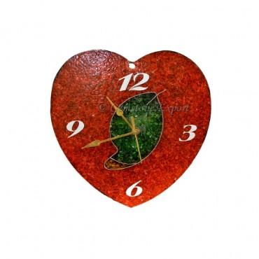 Orgone Red Carnellian Heart Shape Clock