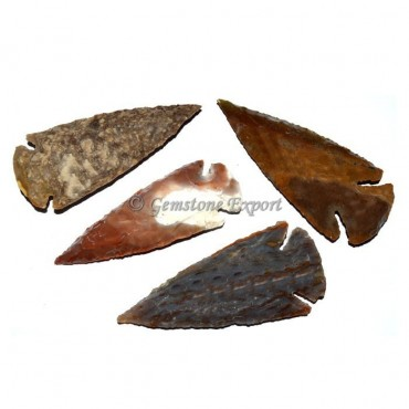 Hand Knapped Agate Arrowheads With Polished