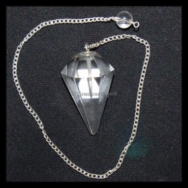 Crystal Quartz 6 Faceted Pendulums