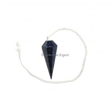 Blue Sunstone 6 Faceted Pendulums