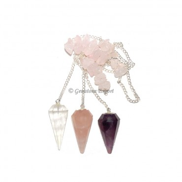 Mix Gemstone Pendulums With Chips