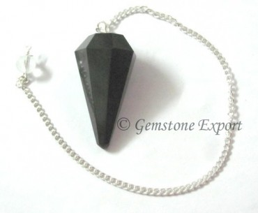 Black Agate 6 Faceted Pendulums