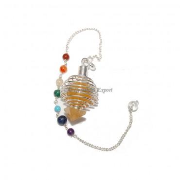 Golden Quartz Cage Chakra Pendulums