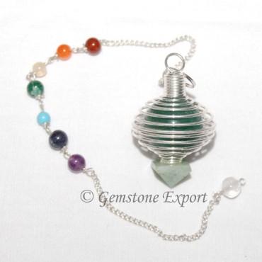 Green Aventurine Cage Chakra Pendulums