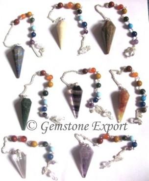 Mix Gemstone 12 Faceted Chakra Pendulums