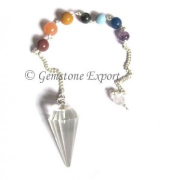 Crystal Quartz 12 Faceted Chakra Pendulums