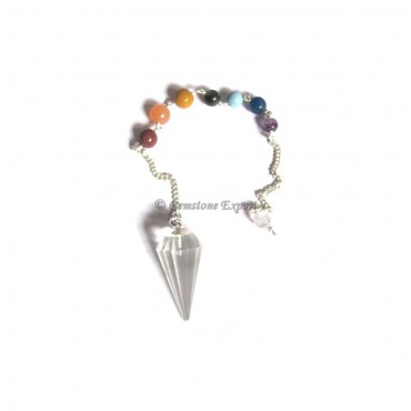 Crystal Quartz 12 Faceted Chakra Pendulums