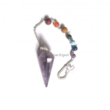 Amethyst 12 Faceted Chakra Pendulums