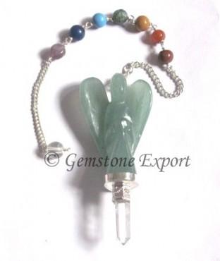 Green Aventurine Angel  Chakra Pendulums