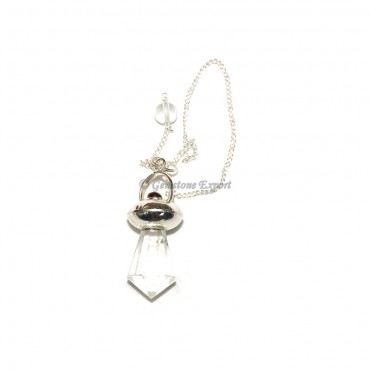 Crystal Quartz With Garnet Pendulums