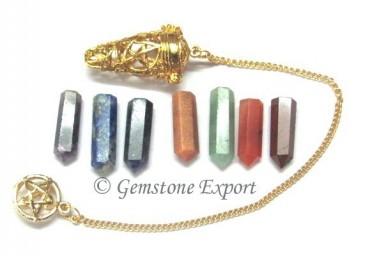 Seven Chakra Cage Pendulums Golden