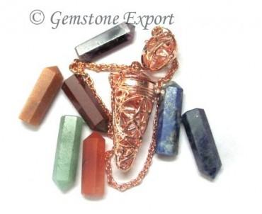 Seven Chakra Cage Pendulums Copper