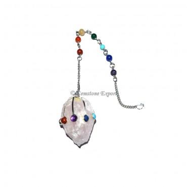 Rose Quartz Hammered Pendulums with Chakra Chain