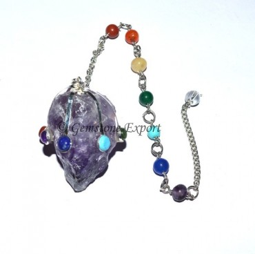 Amethyst Hammered Pendulums with Chakra Chain