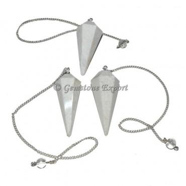 Scolecite 6 Faceted Pendulum