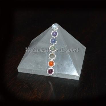 Crystal Quartz Chakra Pyramids With cabs