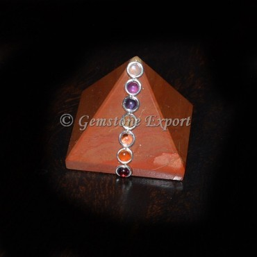 Red Jasper Chakra Pyramids with cabs