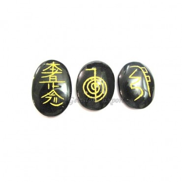 Reiki 1 & 2 Black Agate Oval Set