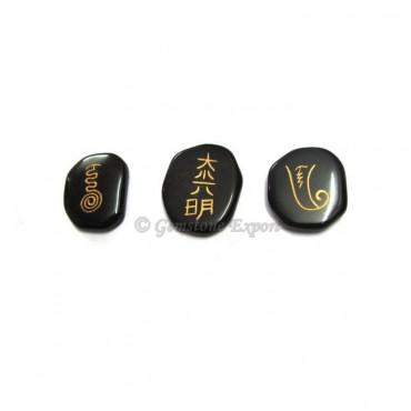 Reiki Master Black Unshape Agate Set